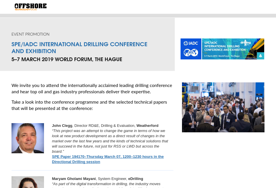 SPE/IADC International Drilling Conference And Exhibition