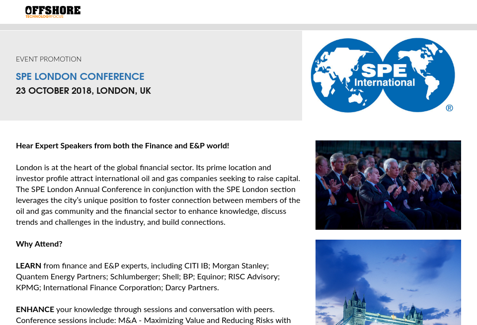Event: SPE London Conference - Offshore Technology Focus